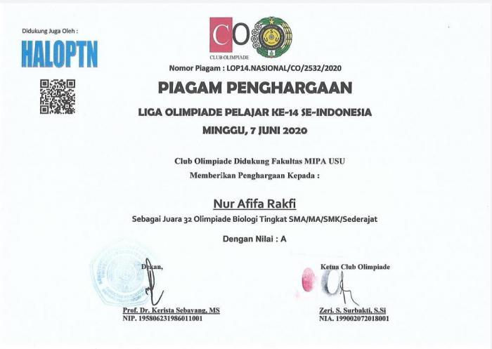 Kembali, Siswa MAN 1 Kerinci Raih Prestasi Olimpiade Biologi Tingkat Nasional